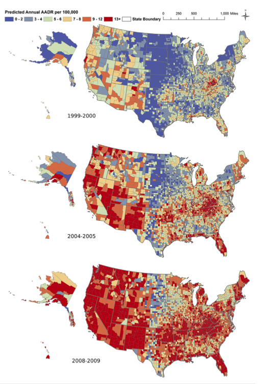 Blue indicates a lower overdose rate and red indicates a higher rate (13+ per 100,000)